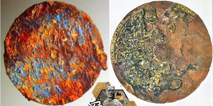 曹操墓铁镜(左图)酷似金银错嵌珠龙文铁镜(右图)。