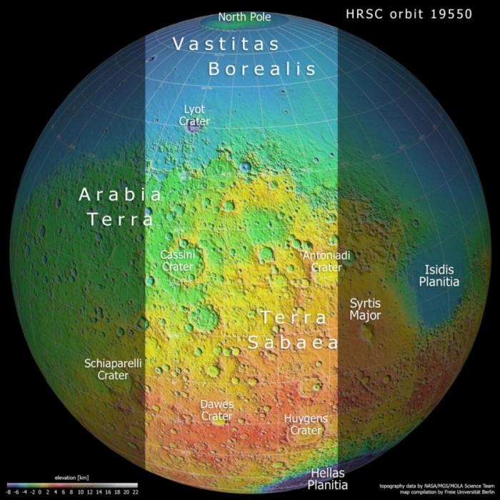欧洲航天局(ESA)发布火星快车号拍摄的火星地形细节图