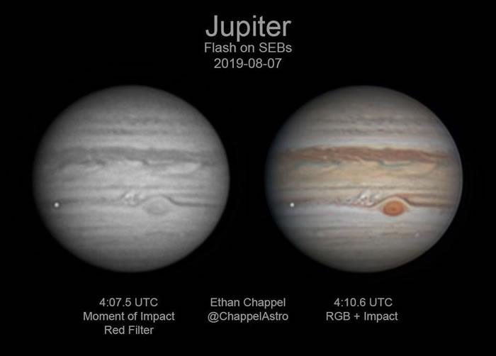 2019年8月7日拍摄的木星图片显示,木星南半球有明亮的白色瞬态闪光,这是自1994年舒梅克-列维9号彗星撞击太阳系最大行星以来的第七次撞击