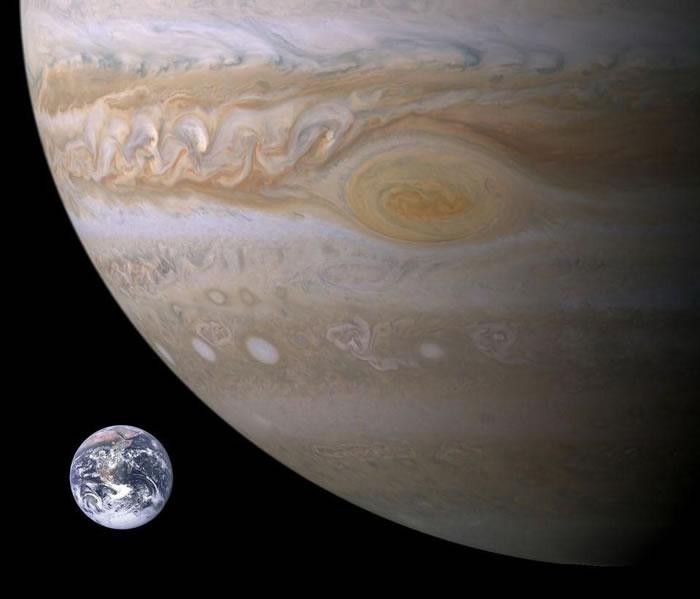 地球和木星的体积对比。从横截面积来看,木星的横截面积是地球的125倍,这将导致小行星和彗星撞击火星的几率是地球的125倍,但实际频率要高得多