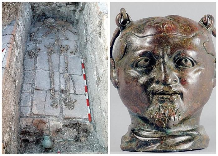 保加利亚1800年古墓发现断鼻头形罐 揭墓主摔跤体育迷