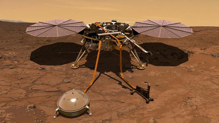 这张插图绘制了安放在火星表面的洞察号登陆器。 登陆器磁力计所获得的初步数据显示,这颗红色星球的磁场会在夜晚以无法解释的方式摇摆。 ILLUSTRATION BY