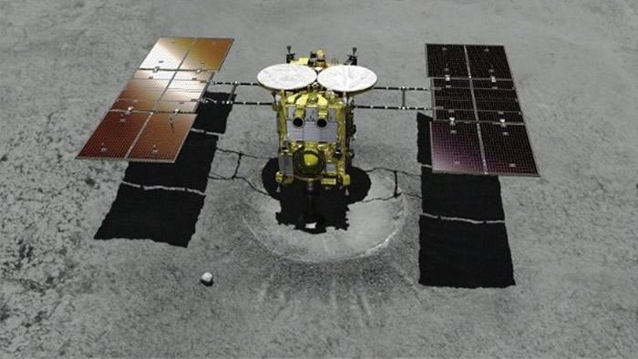 """隼鸟2号成功降落""""龙宫""""。图为电脑模拟图。"""