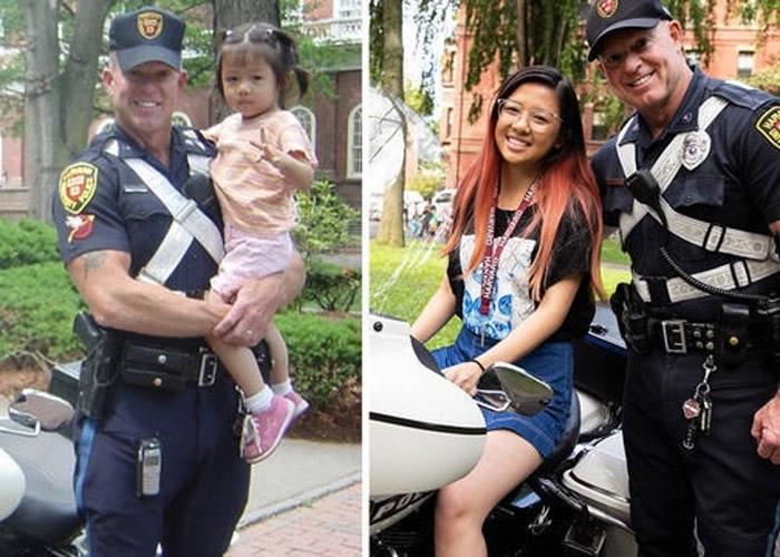 美国华裔少女入读哈佛大学 凭15年前旧照重遇小时候抱她合照的校警
