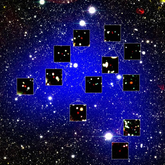 """在距地球130亿光年的地方发现由12个星系组成的原始星系团""""z66OD"""""""