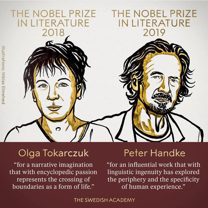 2018年和2019年诺贝尔文学奖分别颁发给波兰奥尔嘉·朵卡萩和奥地利彼得∙汉德克