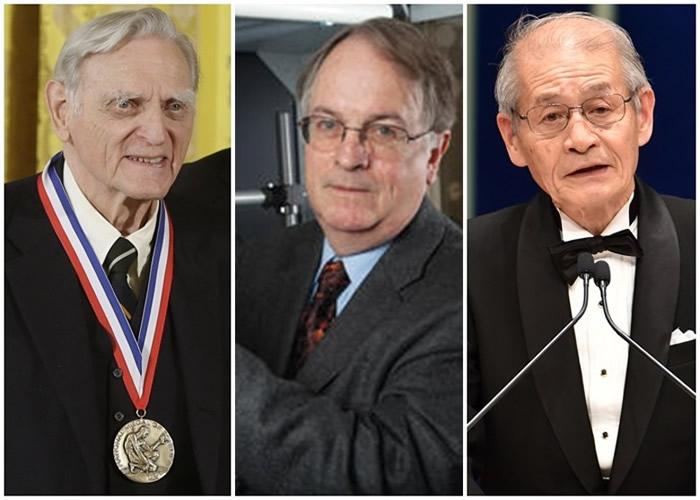 (左起)古迪纳夫、惠廷厄姆及吉野彰致力研究锂离子电池。
