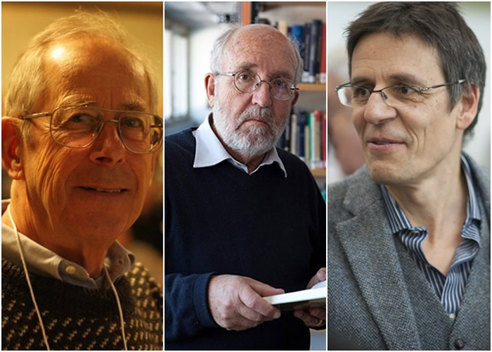 皮布尔斯(左起)、马约尔及奎洛兹为宇宙研究作出贡献。