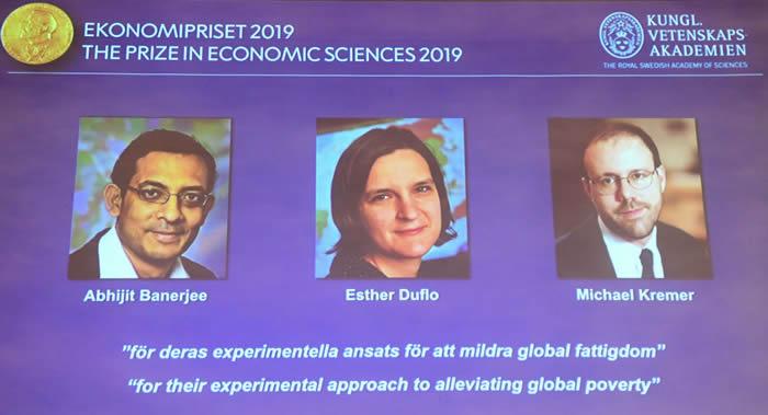 2019年诺贝尔经济学奖授予印裔美国人Abhijit Banerjee、法国Esther Duflo和美国Michael Kremer