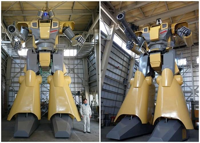 巨型机器人以米黄为主,气势凛然慑人。