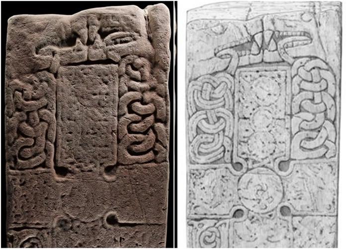 英国苏格兰高地早期基督教教堂遗址中发现1200年历史十字架旁刻有2只巨大野兽的立石
