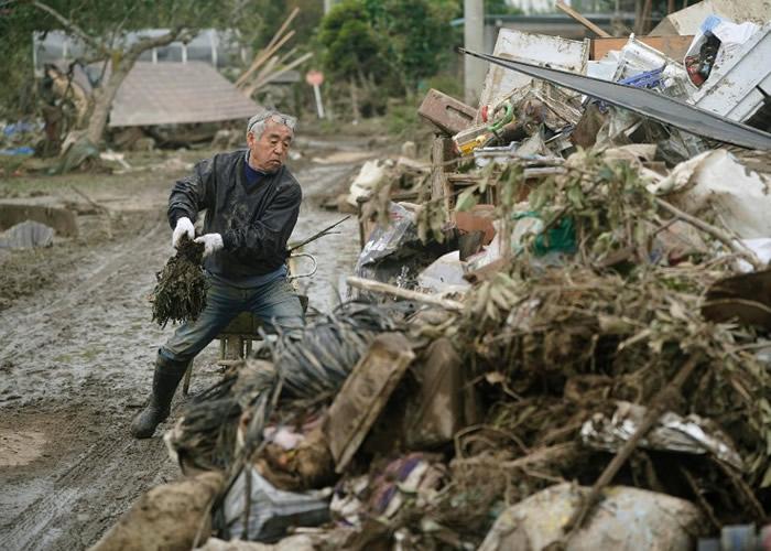 """强台风""""海贝思""""来袭!日本福岛县田村市19个装有核污染物的袋被洪水冲走"""