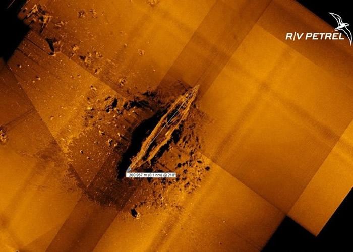 美国海底战舰残骸研究团队海燕号发现疑为二战日本航母赤城号