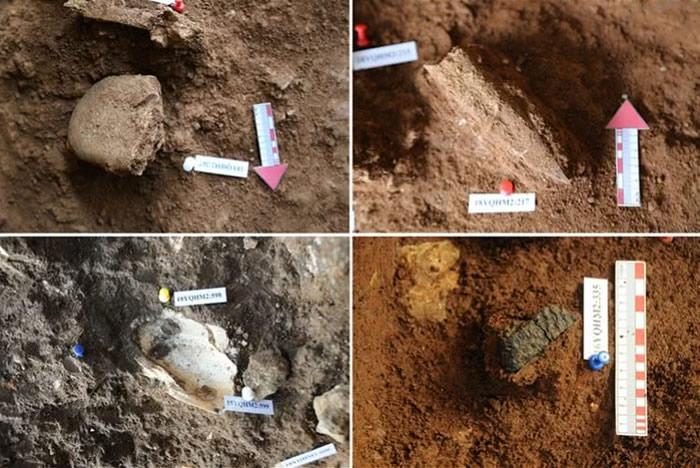 青塘遗址出土的石器(左上),骨器(右上),蚌器(左下),陶器(右下)。