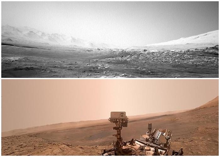 """""""好奇号""""续探火星盖尔陨石坑 传回表面布满岩石的瑰丽景象"""