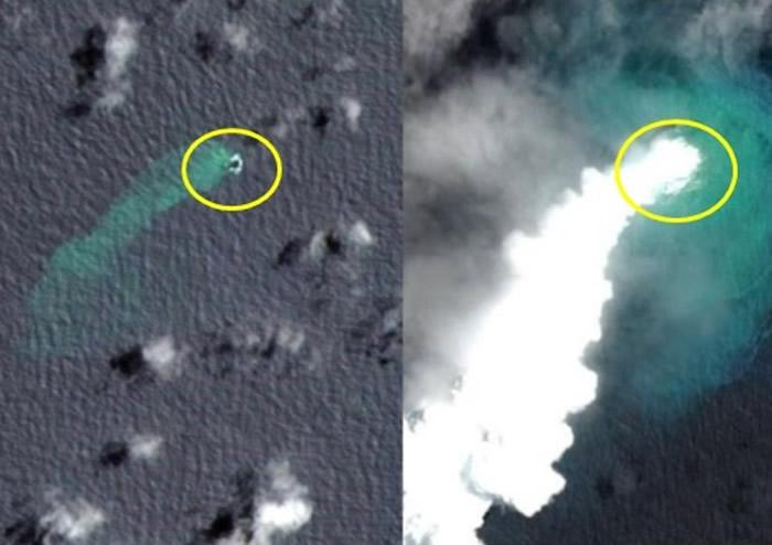卫星图显示拉德基岛爆发时冒出滚滚浓烟。