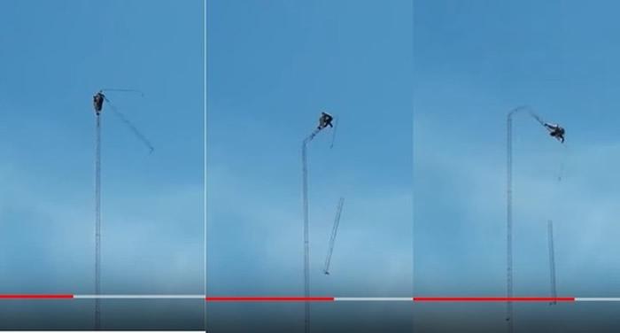 震撼画面引民众愤怒:天线塔突然断成多截 乌拉圭28岁工人惨从40公尺高坠地身亡