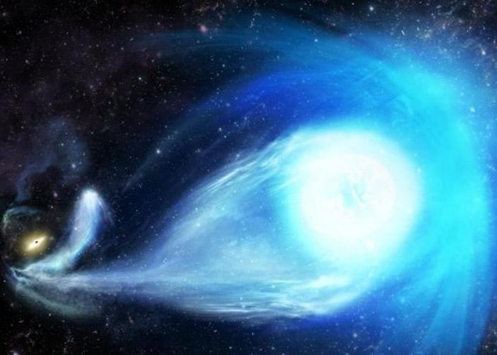 """画家笔下恒星被超大质量黑洞""""踢走""""的示意图。"""