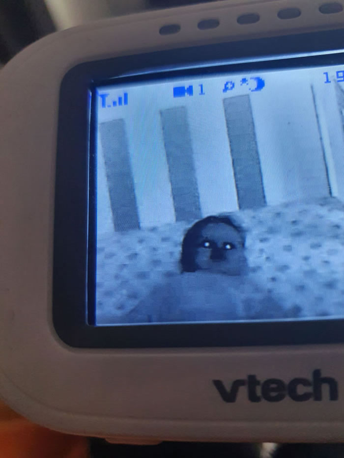 监视器中婴儿睡觉眼放光似鬼魂附身吓坏父母