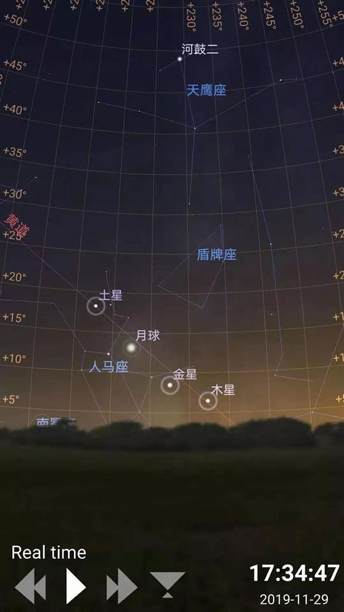 """2019年11月29日傍晚西南方夜空出现罕见""""四星连珠"""""""