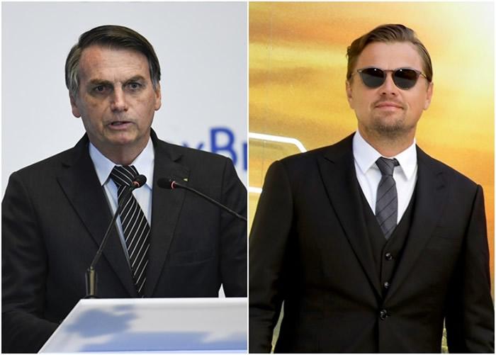 博尔索纳罗(左图)指控里奥勒度狄卡比奥(右图)出钱放火烧亚马逊。