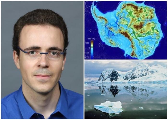 莫里希姆(左图)新技术绘画南极洲冰川地形图。
