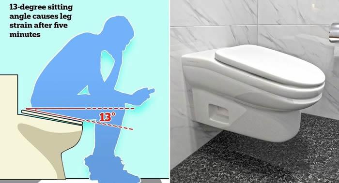 """英国""""StandartToilet""""公司发明一种向前倾斜13度的马桶能使如厕时间更少"""