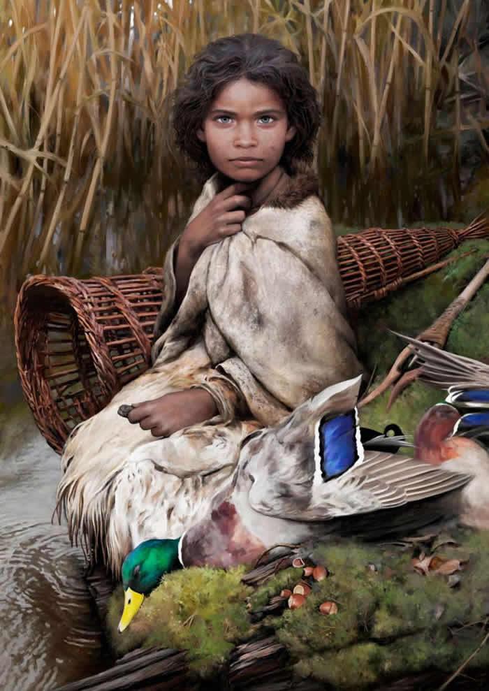 """丹麦发现的5700年前""""口香糖""""重现石器时代小女孩真面目 最后的晚餐吃绿头鸭与榛果"""