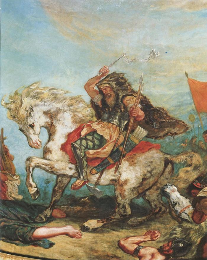 在法国画家德拉克洛瓦(Eugene Delacroix)的画作中,匈人阿提拉(Attila the Hun )与他的手下从马背上攻击敌人。 PHOTOGRAPH