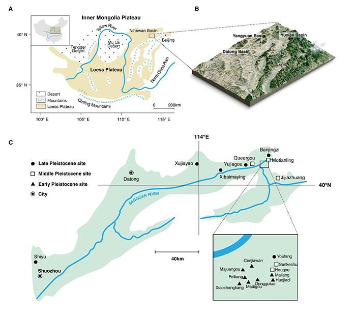 泥河湾盆地地理位置及地貌(杨石霞供图)