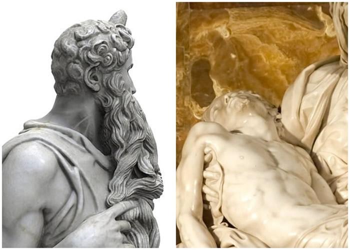 左图为《摩西》雕像,右图为《圣殇》像。