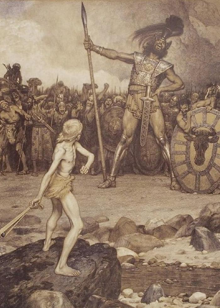 描绘大卫(左)与巨人歌利亚战斗的画作。