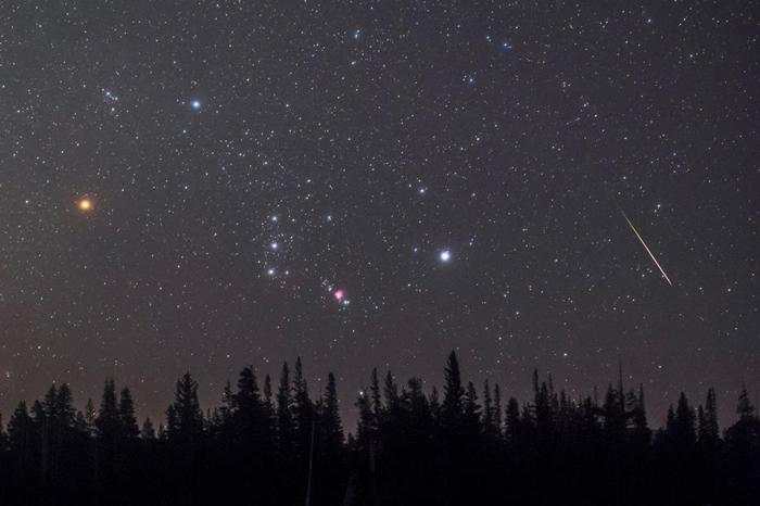 一颗流星划过地平在线空的猎户座。 明亮的红巨星参宿四(左)就位在这个著名的星座之中。 PHOTOGRAPH BY BABAK TAFRESHI, NAT GEO