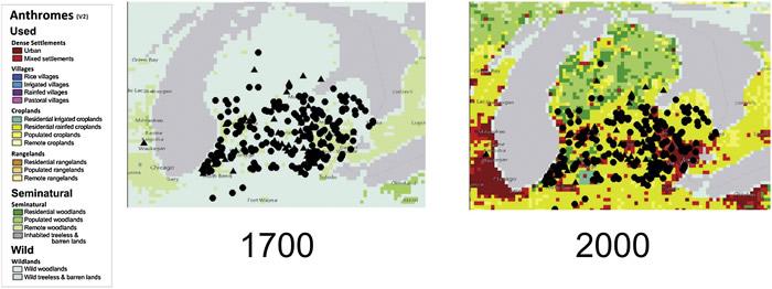 1700年和2000年,密歇根普列斯特世的活动场所。三角形是长毛象,圆圈是乳齿象的地方。(Anthrome data from:http://ecotope.o