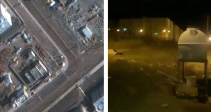 拍摄者右边直立容器(右图)亦在卫星图片(左图)可见。