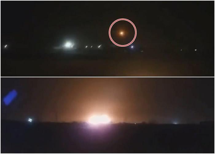 影片拍到客机中弹后起火(上图红圈),之后失控撞地爆炸(下图)。