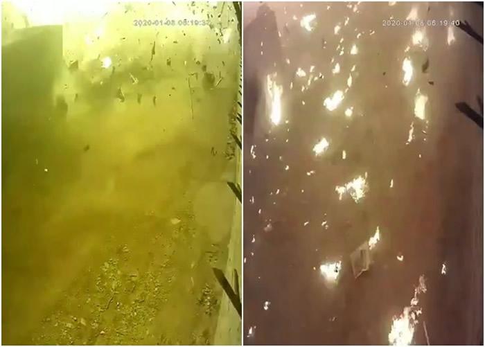 客机撞落地面时,碎片四散,现场出现多个火头。