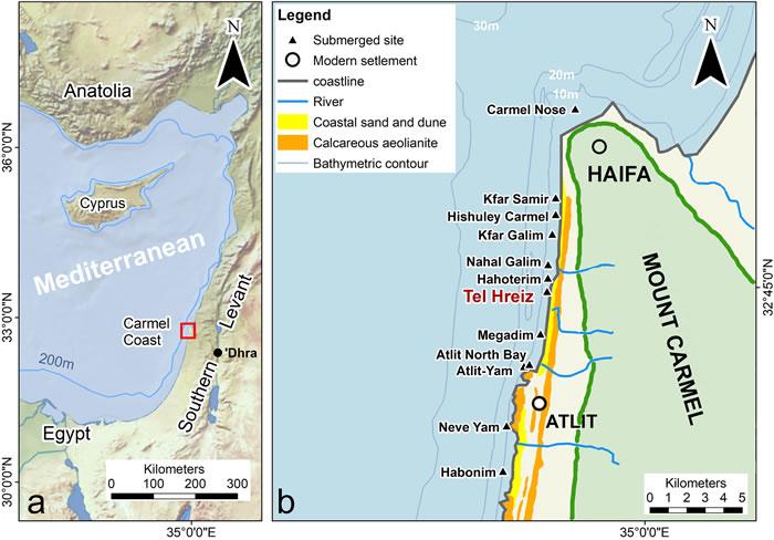 """以色列海法大学考古学家在水下聚居地""""特蕾西""""发现7000年前堤坝"""