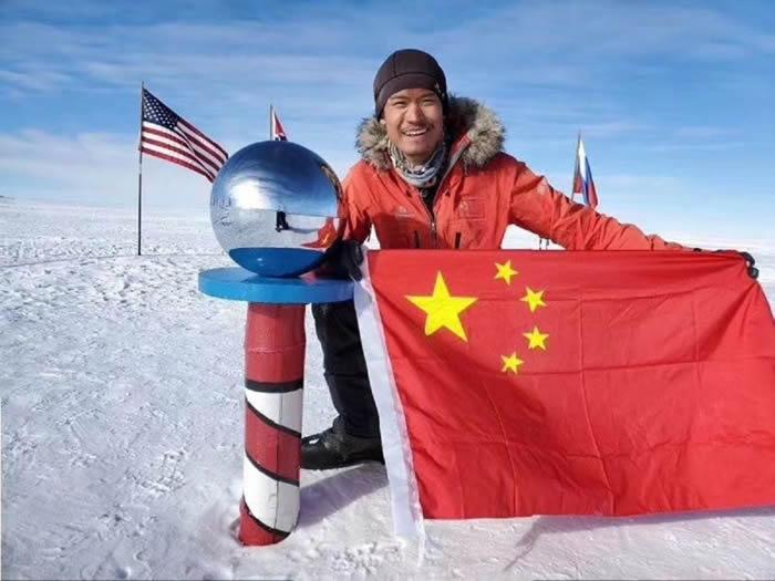 中国探险协会会员、青年科学探险家温旭成功抵达南极点 创造新的世界纪录