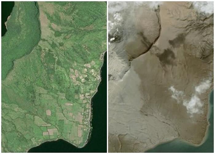 原本翠绿的地块已被火山灰覆盖。