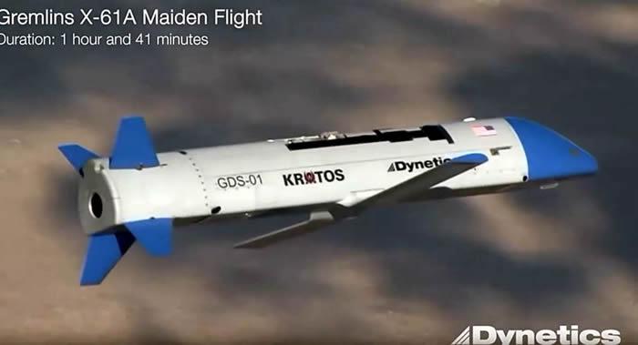 美国Dynetics公司X-61A型可重复使用的涡轮喷气式无人机在运输机上发射后失踪