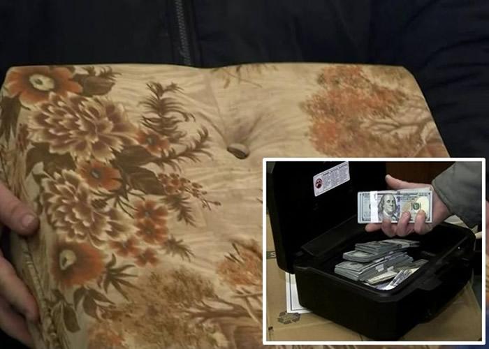 美国密歇根州男子买二手沙发感异样 拆开竟发现4.3万美元现金