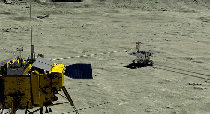 """中国嫦娥四号着陆器""""玉兔二号""""月球车受光照自主唤醒 开始第十四月昼工作"""