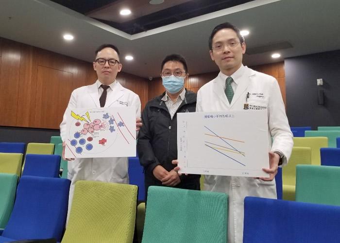 陈智仁(右)表示,新治疗方案成效显著。左为蒋子梁,中为郭先生。(林嘉诺摄)