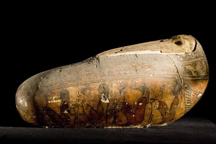 一枚圣鹮木乃伊的特殊外层──由亚麻和泥灰制成的外壳──重现了这种鸟的长喙与头部,并以玻璃珠作为眼睛。 大约在公元前650年至250年之间在埃及有数百万只圣鹮木乃