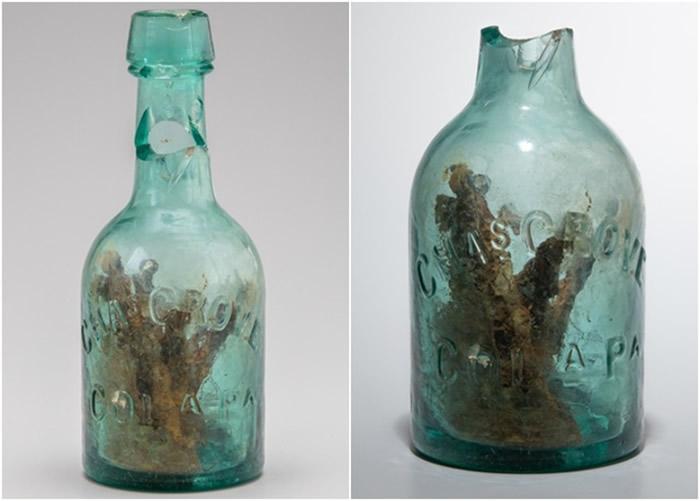 """美国内战时期碉堡出土装有钉子的残旧玻璃瓶:有160年历史的猎巫陷阱""""巫师瓶"""""""