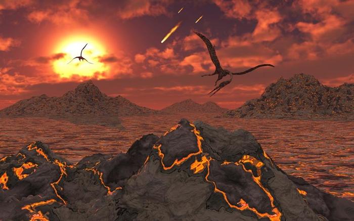 在让非飞行恐龙灭亡的大灭绝事件发生时,几只翼龙飞过火山的想象图。 ILLUSTRATION BY STOCKTREK IMAGES, NAT GEO IMAGE