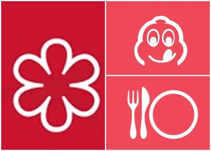 """米芝莲现时以星星(左图)、""""米芝莲先生""""(右上图)及汤匙、叉子和碟子(右下图)等作评级符号。"""