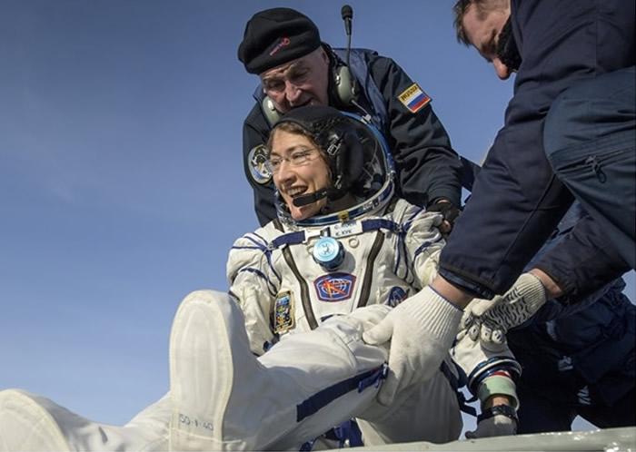 美国女太空人Christina Koch返回地球 逗留328天刷新女性最长单次太空飞行纪录