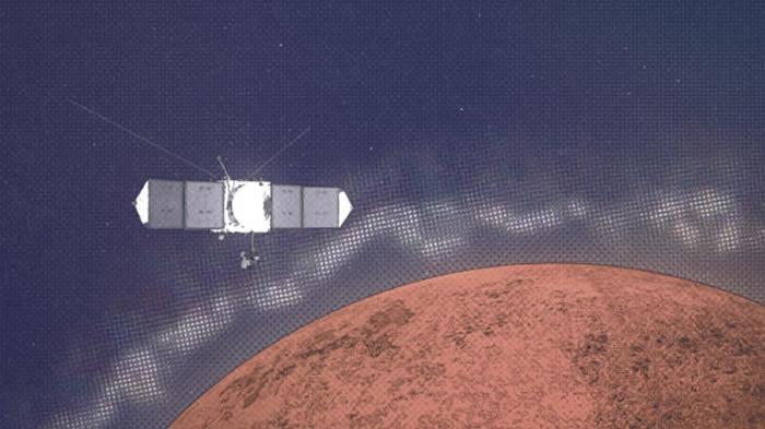 """NASA""""火星大气与挥发物演化""""任务探测器在火星电离层中发现""""阶层""""和""""裂痕"""""""